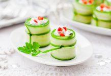 komkommer rolletjes met feta